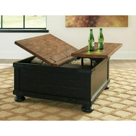 Signature Design by Ashley Valebeck Black/Brown Square Lift Top Cocktail Table Dark Brown Cocktail Table