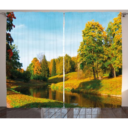 Rivera Living Room Set (Landscape Curtains 2 Panels Set, Scenery View Natural Forest Park with Trees and River Photo Image, Window Drapes for Living Room Bedroom, 108W X 63L Inches, Marigold and Olive Green, by Ambesonne )