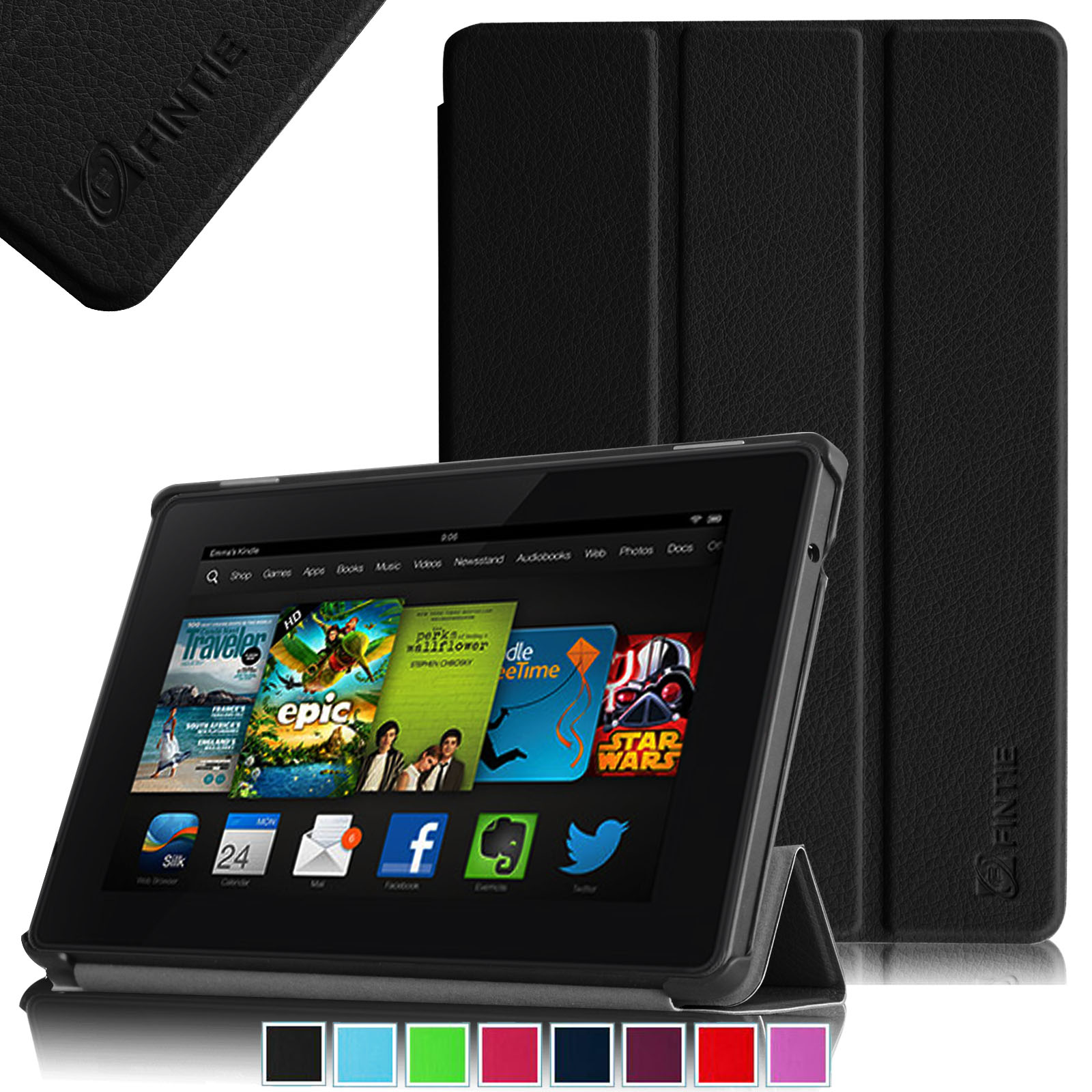 "Fintie Kindle Fire HD 7"" (3rd Gen 2013 Model) SmartShell Case Ultra Slim Cover with Auto Sleep / Wake, Black"