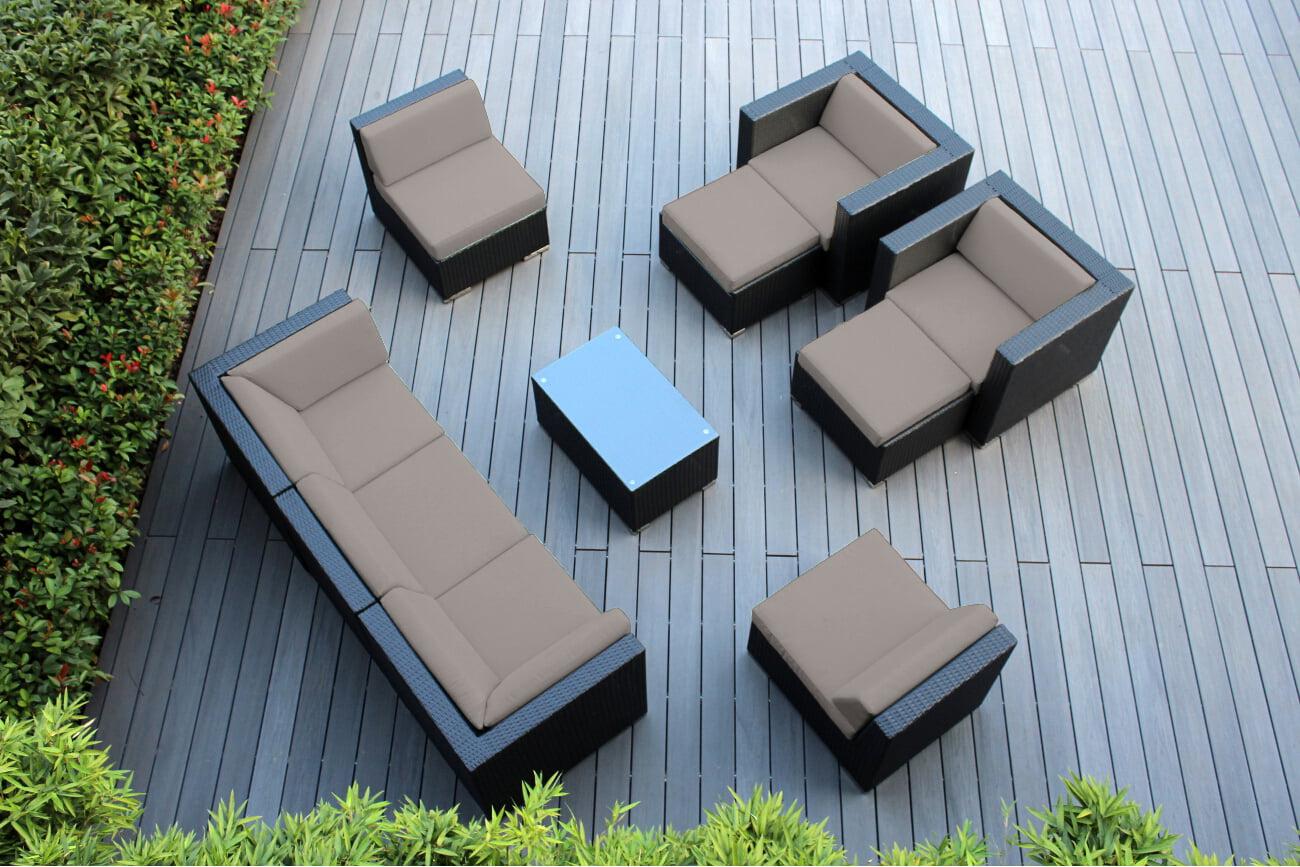 Ohana 10 Piece Outdoor Wicker Patio Furniture Sectional Conversation Set Black Wicker by Ohana Depot
