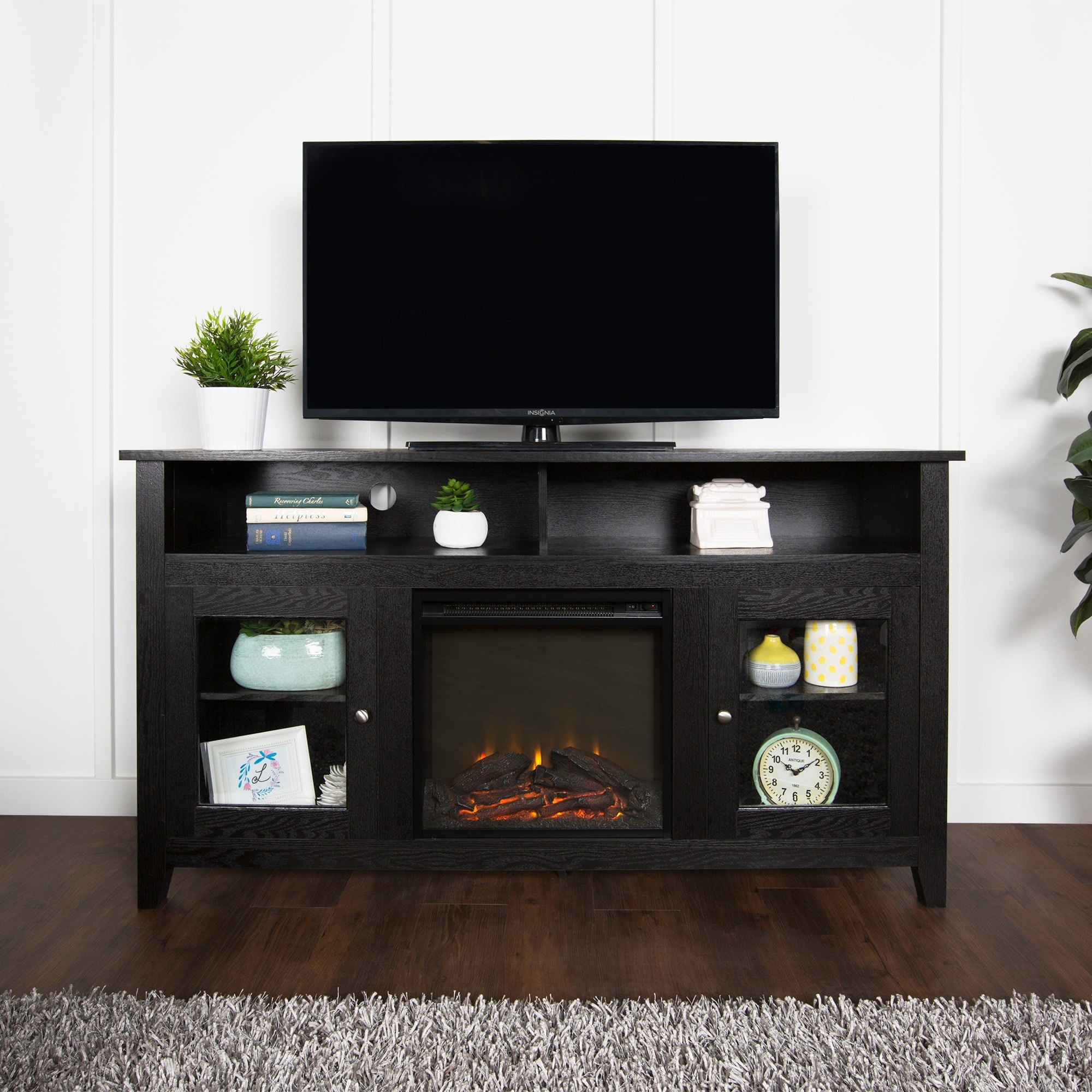 WE Furniture 58-inch Black Wood Highboy Fireplace TV Stand ...
