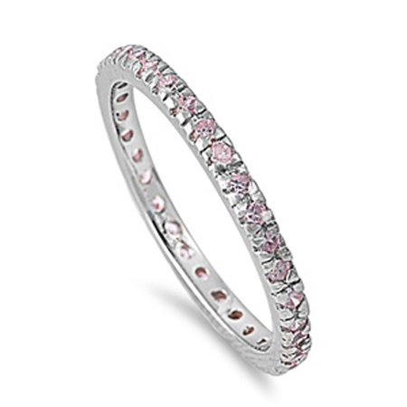 Penguin Cubic Zirconia Ring (CHOOSE YOUR COLOR Sterling Silver Eternity Band Pink CZ Thin 2mm Ring Stackable)