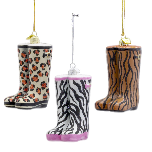 Club Pack of 12 Noble Gems Glass Animal Print Rain Boot Christmas Ornaments 4""