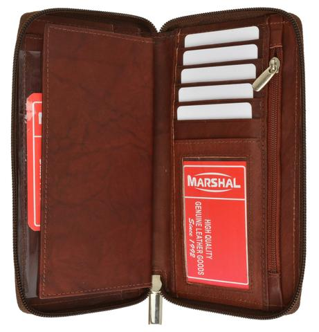 Genuine leather ziparound multi credit card ID checkbook cover wallet 253 CF