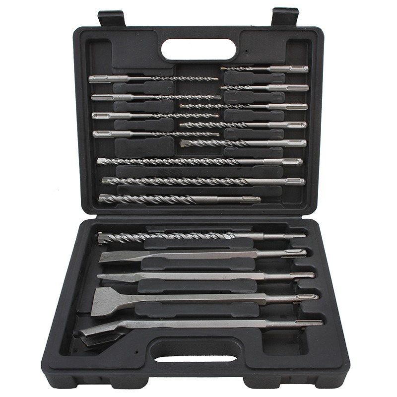 XtremepowerUS Concrete Brick Rotary Hammer Drill Bits & Chisel Groove Set SDS HILTI Plus with Case, 17PC