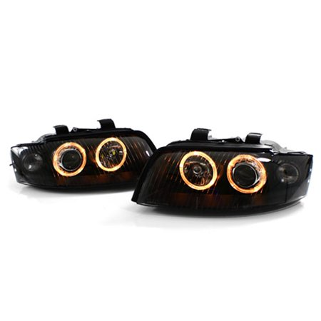 02-05 AUDI A4/S4 B6 4DR E-CODE ANGEL EYE PROJECTOR HEADLIGHTS - BLACK