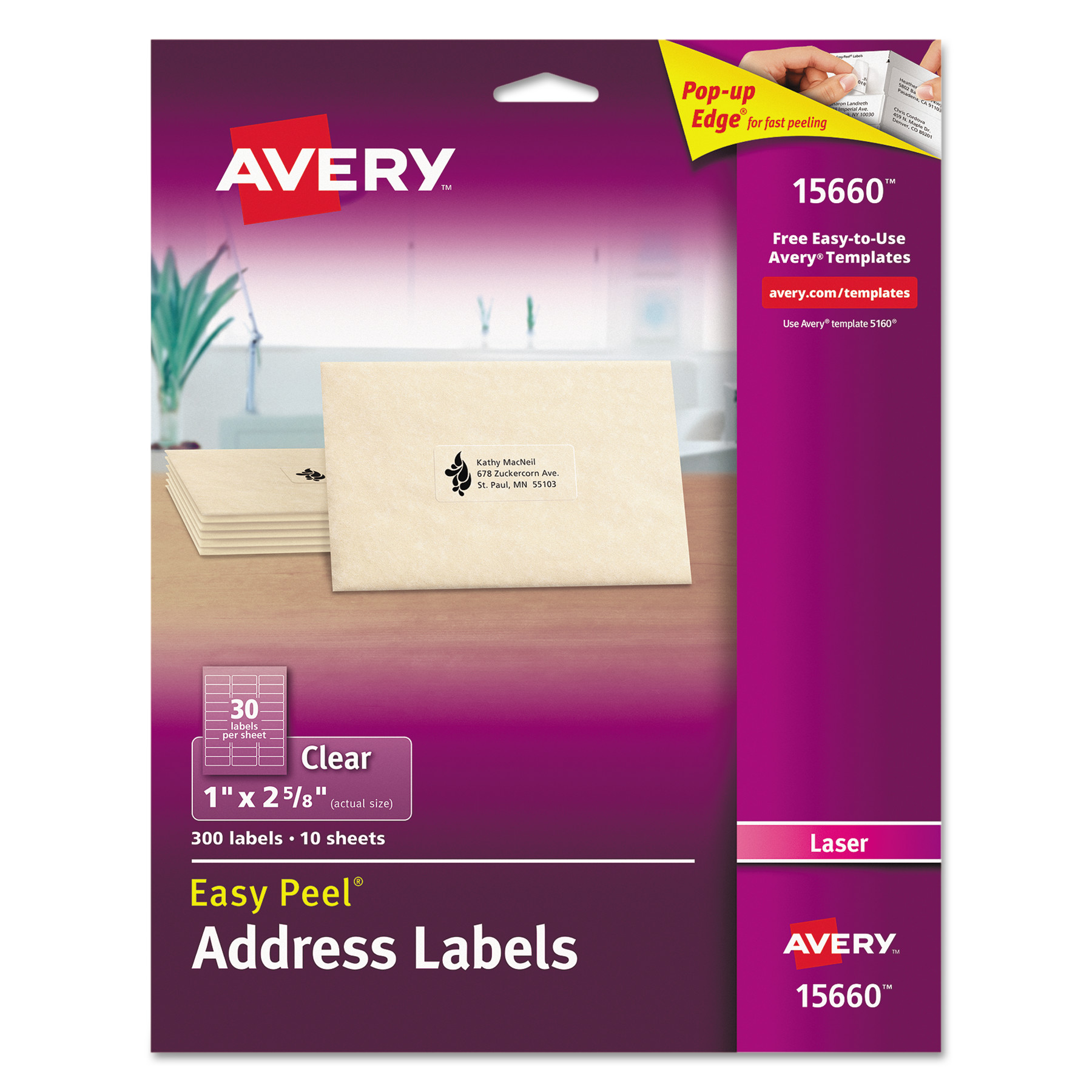 Avery Matte Clear Easy Peel Address Labels, Laser, 1 x 2 5 8, 300 Pack by AVERY-DENNISON