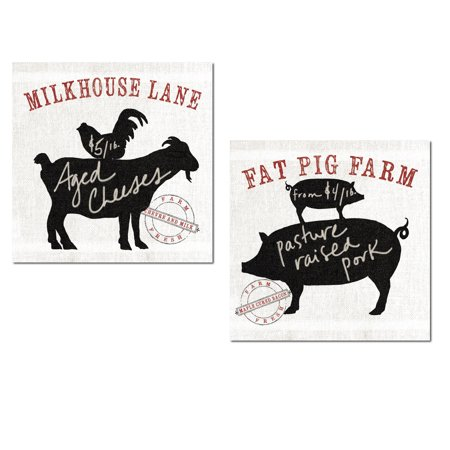 Linen-Style Farm To Table Aged Goat Cheese and Pasture Raised Pork by Sue Schlabach; Two 12x12in Unframed Paper Posters (Printed On Paper, Not Linen)