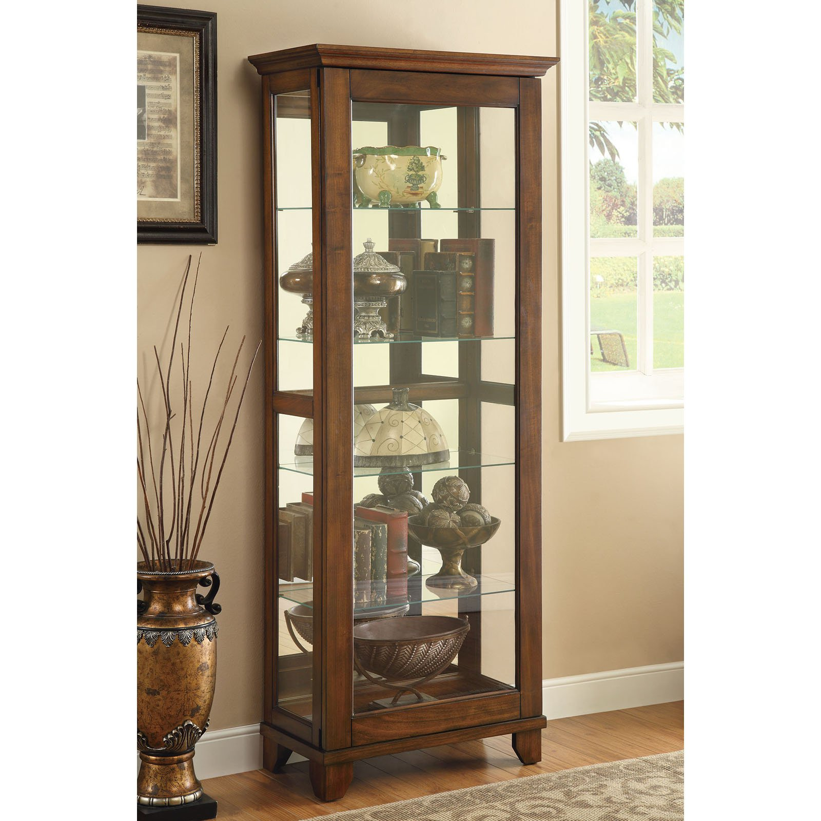 Beau Coaster Company 5 Tiered Curio Cabinet, Warm Brown Finish