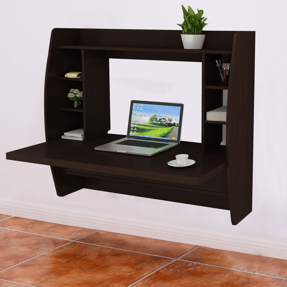 Floating Computer Desk costway wall mount floating computer desk storage two shelf laptop