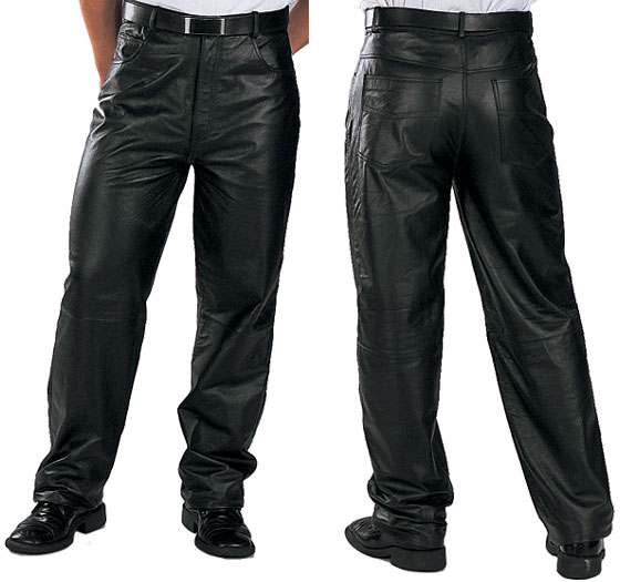 Xelement 860 Classic Mens Black Loose Fit Leather Pants