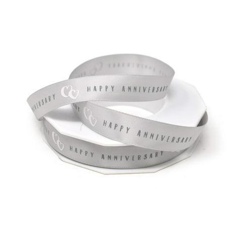 Elegant Happy Anniversary Satin Ribbon, Silver, 5/8-Inch, 20-Yard