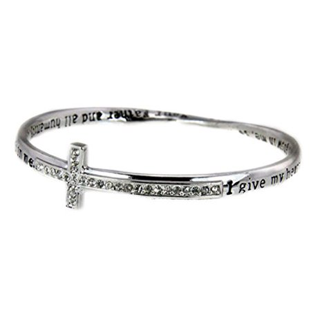 Prayer Blessing Cross Twisted Solid Bangle Stackable Religious Bible