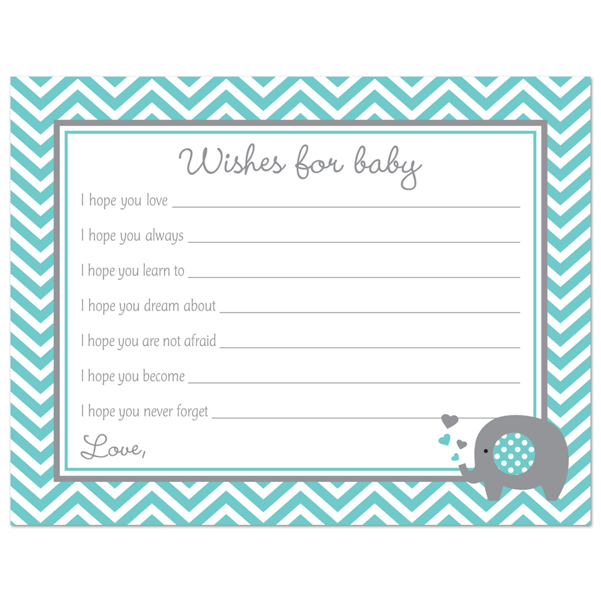 Pink Elephant Baby Shower Wishes for Baby Cards - 48 count