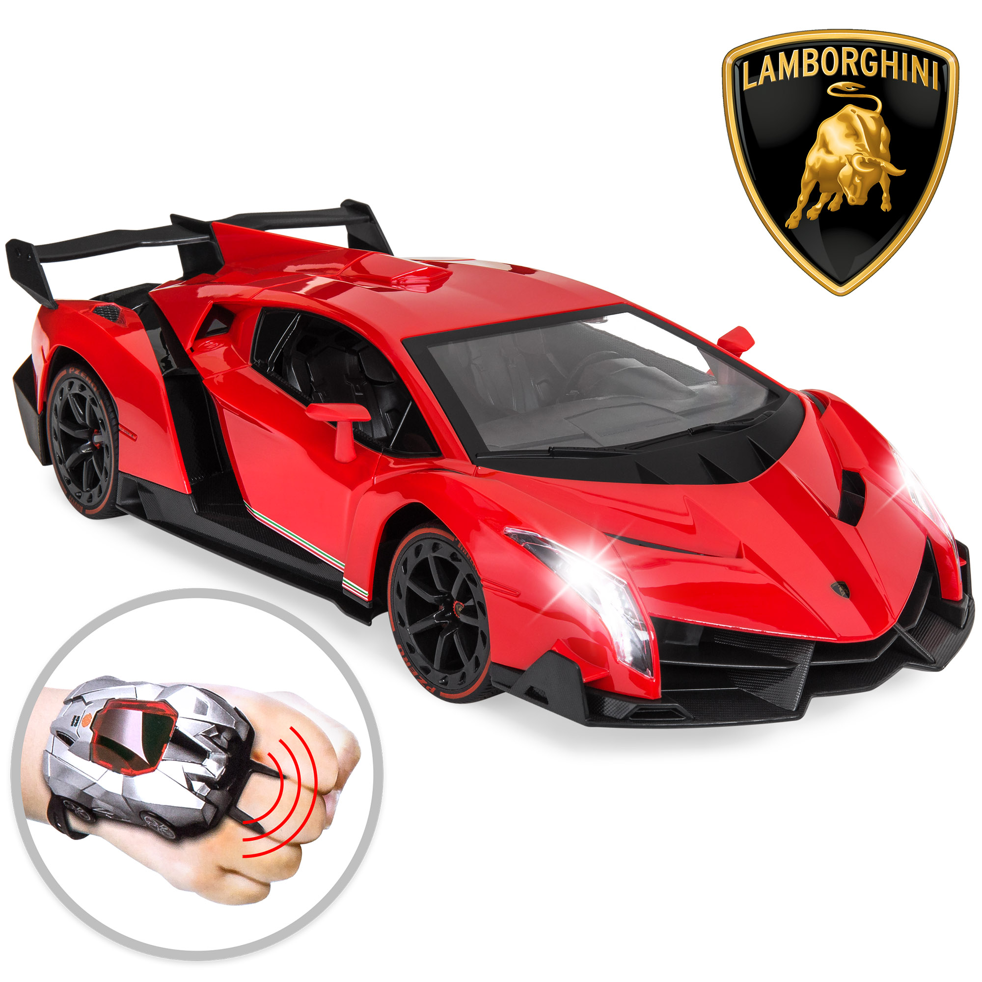 Best Choice Products 1/14 Scale RC Lamborghini Veneno Race Car w/ Wearable Controller and Gravity Control - Red
