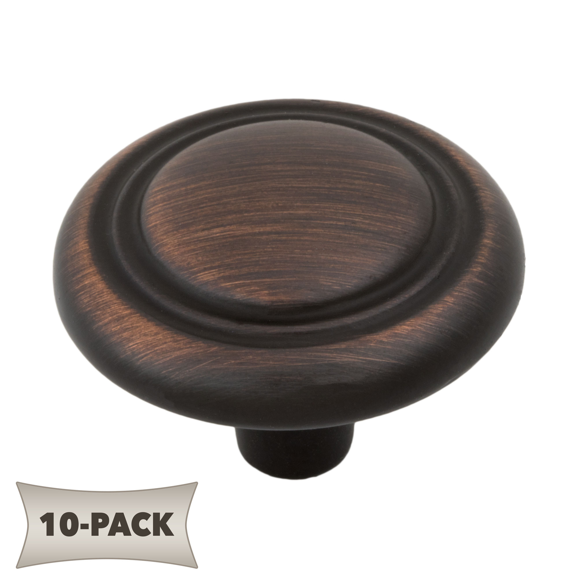 10-Pack Button Rimmed Round Kitchen Cabinet Hardware Mushroom Knob 1-1/4 Inch, Oil Rubbed Bronze