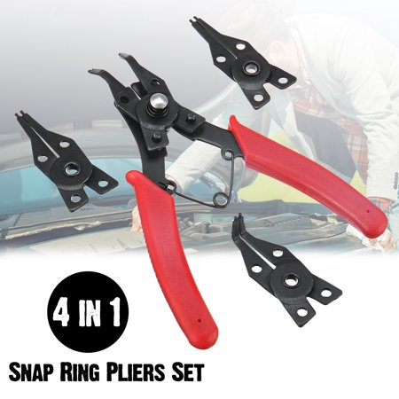 Snap Ring Pliers Plier Set Circlip Combination Retaining Clip Hand Tools with 3 Clamp Heads