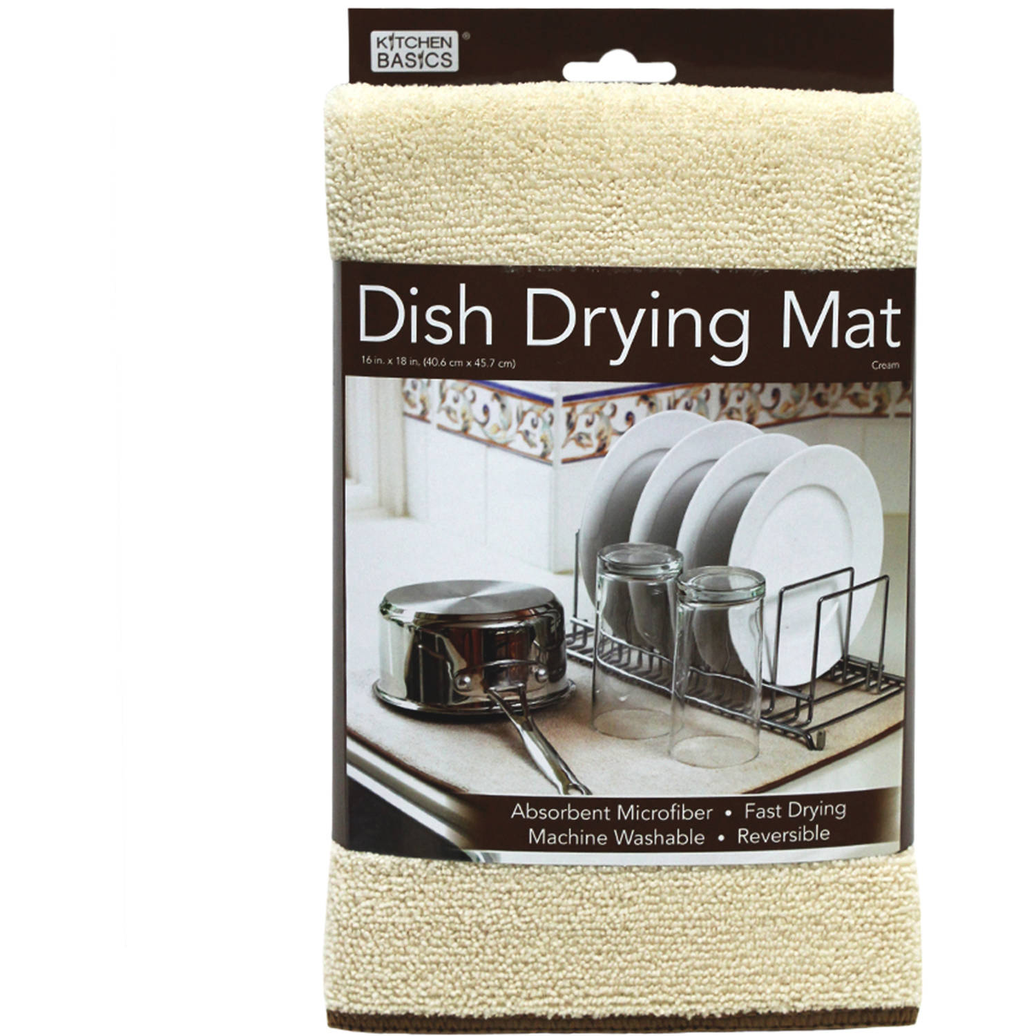 "Kitchen Basics Reversible Microfiber Dish Drying Mat - Cream - 16"" x 18"""