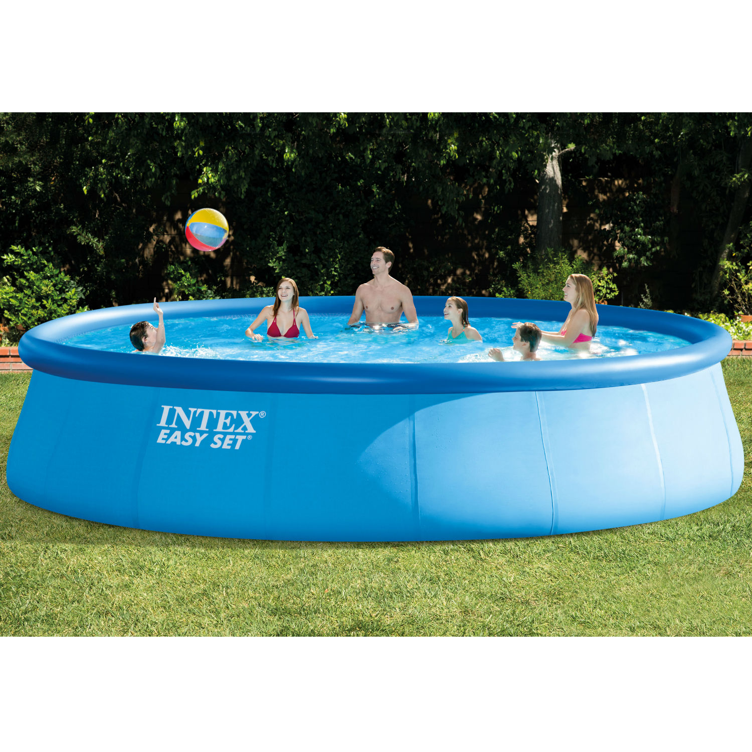 "Intex 18' x 48"" Easy Set Above Ground Swimming Pool with Filter Pump"