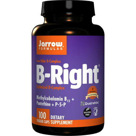 Jarrow Formulas B-right Complex, Supports Engery, Brain and Cardiovascular Health, 100 Veggie Caps ()