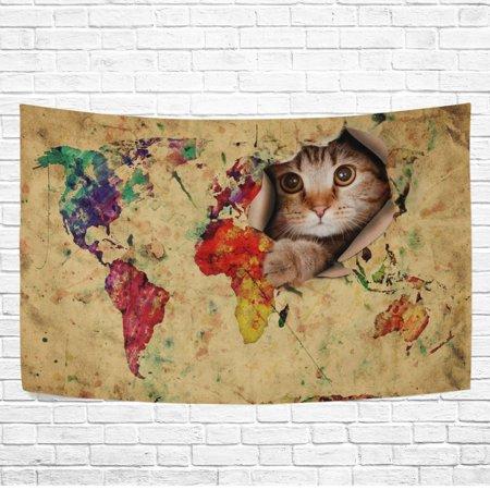 POPCreation Funny Cat Kitten World Map Wall Art Tapestry Bedroom ...