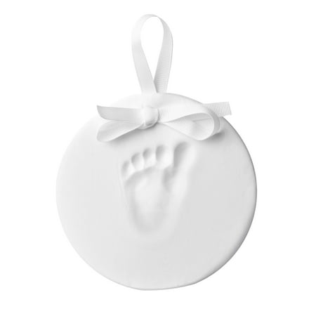 Little Pear Hanging Handprint Keepsake Our baby's handprint keepsake reminds you of how small your wee baby used to be. Each day your sweetie gets just a little bigger, a touch more headstrong and full of curiosity. Even their grasping hands and plump tootsies seem to be growing overnight. The Little Pear Baby's Handprint Keepsake lets you capture an impression of their handprint or footprint in lightweight, easy-to-work-with clay. It's a bittersweet delight to look back at this baby keepsake and see just how far your little one has come. Time and again, you'll sigh with nostalgia when you gaze at this darling keepsake ornament.    The Little Pear Baby's Handprint Keepsake is simple to use as well. This kit includes everything you need to create adorable impressions of baby's handprint or baby's footprint. You'll receive no-mess impression clay, a rolling pin, a plastic hole punch and shaping ring, along with one pink, one ivory, and one blue grosgrain ribbon for use as a decoration. Don't fret over baby! The clay boasts a non-toxic, baby-safe formula that's ready mold and shape with a darling handprint or footprint front and center. Tips and tricks: for best handprint or footprint make sure baby is fed, changed and calm. Use rolling pin to desired thickness. Flatten baby's feet or hands and press against the impression clay. Cut, shape and punch a hole for the ribbon. You're ready to showcase your unique keepsake. Make sure to include this handprint kit on your baby gift registry. We know this charming keepsake also makes a perfect holiday gift, Christmas gift, Mother's gift, Father's gift or baby shower gift.