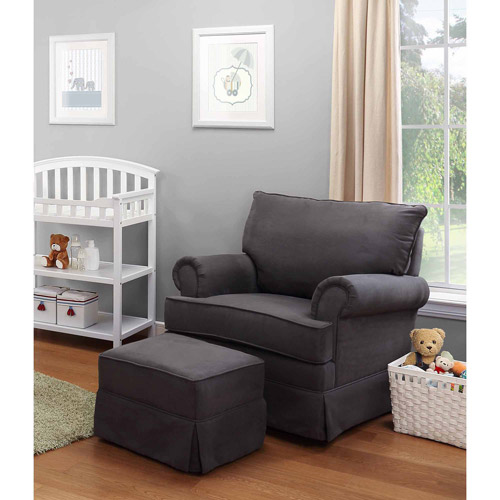 Thomasville Kids Grand Royale Upholstered Swivel Glider And Ottoman Gray    Walmart.com