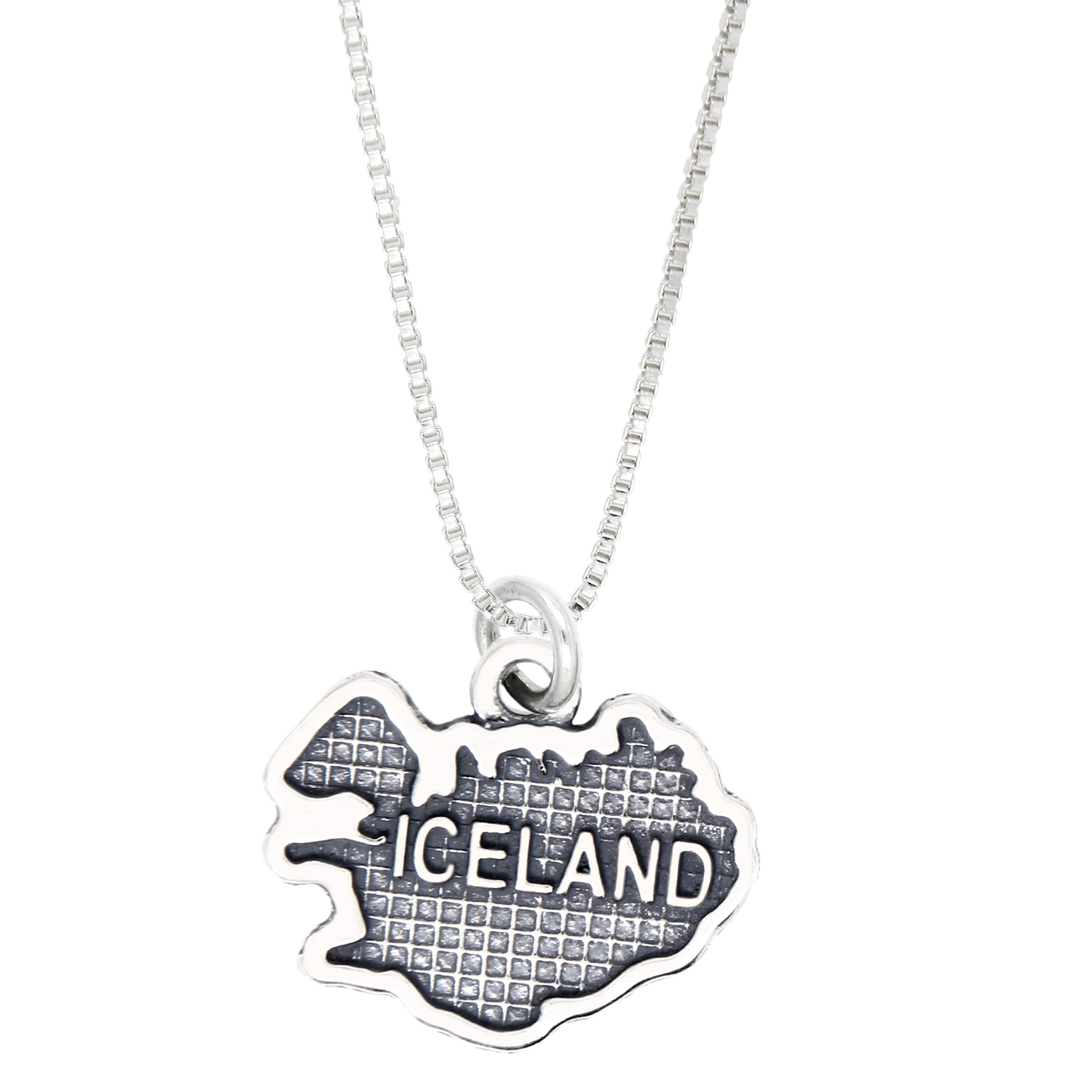 lgu - sterling silver oxidized travel map of iceland charm necklace