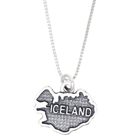 Sterling Silver Oxidized Travel Map of Iceland Charm Necklace