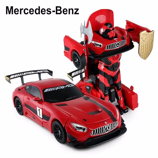2.4Ghz Radio Remote Control 1 14 Mercedes-AMG GT3 Transformers Robot Model RC Car (Red) by