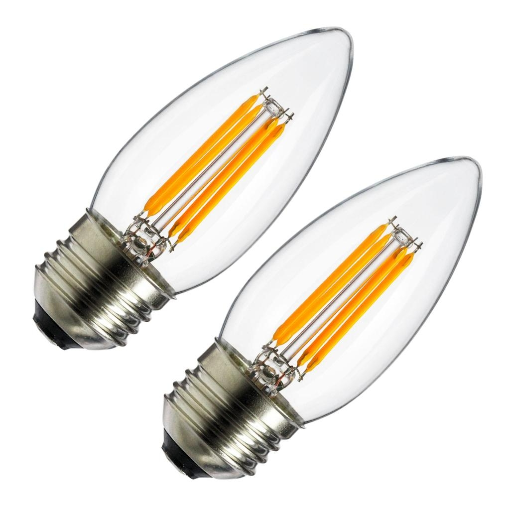 Sunlite 80428 - 4 watt 120 volt C11 Medium Screw Base 2700K Clear Dimmable Nostalgic LED (2 pack) (ETC/LED/AQ/4W/E26/DIM/CL/27K/CD2)