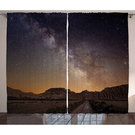 Night Curtains 2 Panels Set, Milky Way over Desert of Bardenas Spain Ethereal View Hills Arid Country, Window Drapes for Living Room Bedroom, 108W X 90L Inches, Plum Apricot Chocolate,