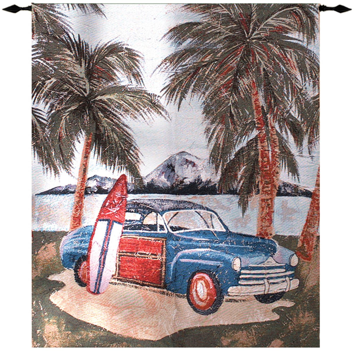 """Beach Party Surfing Safari Retro Red Cotton Wall Art Hanging Tapestry 42"""" x 35"""""""