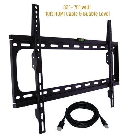 Fixed TV Wall Mount Bracket Fits 32-70″ TV's 600×400 VESA Low Profile Ultra Slim including Bubble Level & 10ft. HDMI Cable Extra Strength & Life Time Warranty-(Black)- KORAMZI KWM988F