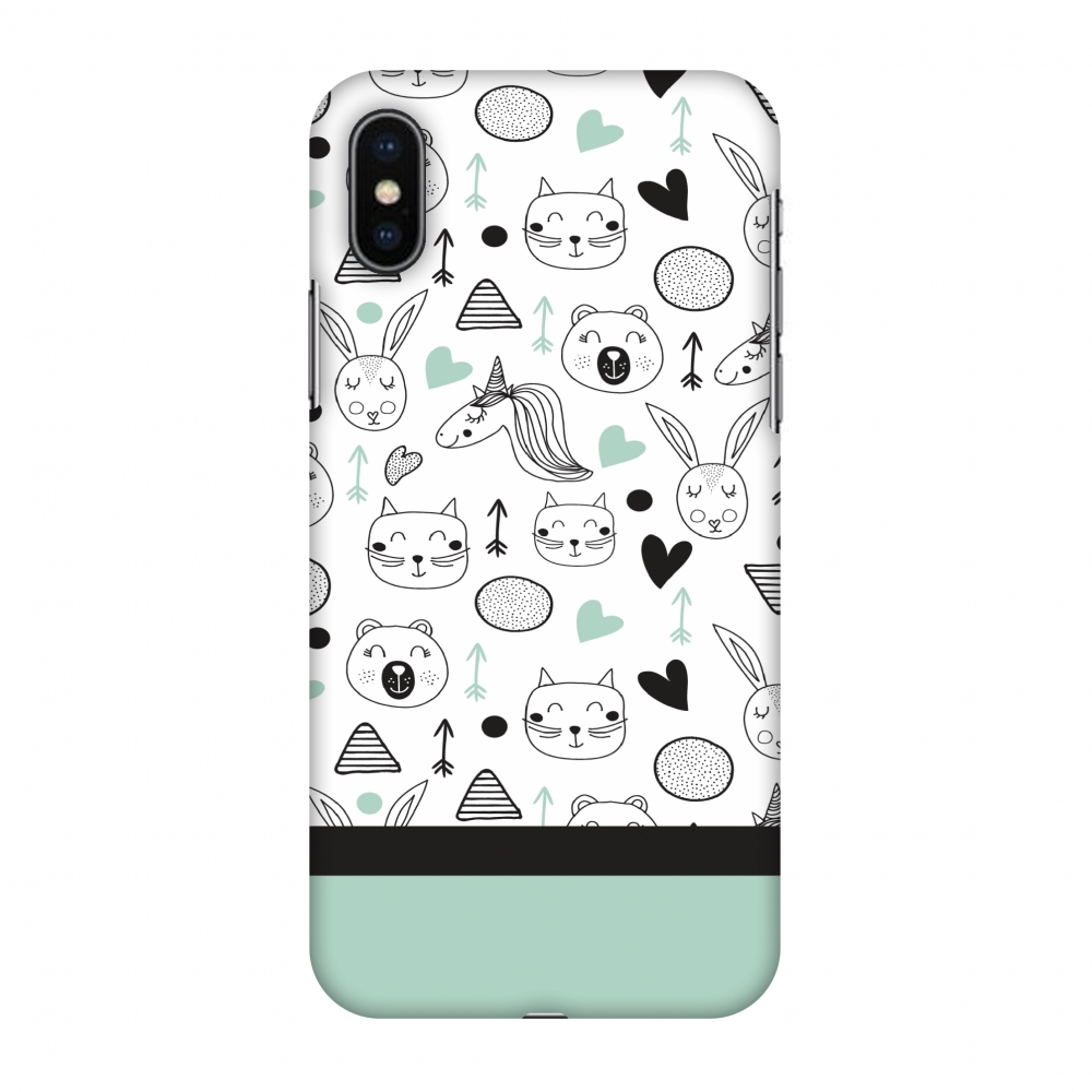 iPhone X Case - Unicorns, Hard Plastic Back Cover. Slim Profile Cute Printed Designer Snap on Case with Screen Cleaning Kit
