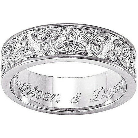 Personalized Sterling-Silver Celtic Trinity Knot Wedding Band ...