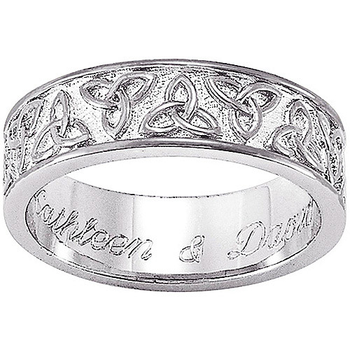 Personalized Sterling-Silver Celtic Trinity Knot Wedding Band
