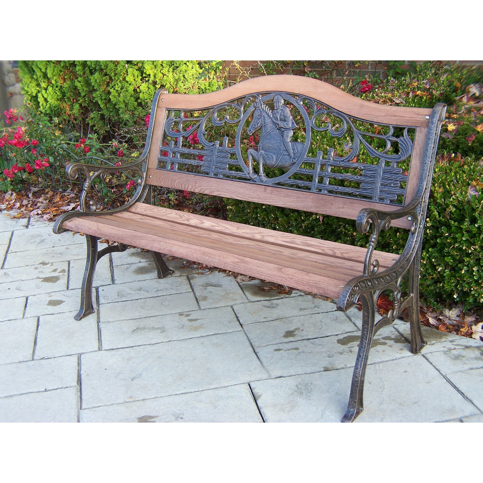 Cool Oakland Living Horse Cast Iron And Wood Bench In Antique Bronze Finish Ocoug Best Dining Table And Chair Ideas Images Ocougorg