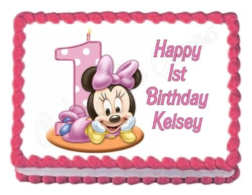 MINNIE MOUSE 1ST BIRTHDAY party edible cake image decoration