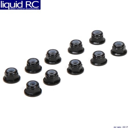 (team losi racing 336005 m3 flanged aluminum lock nuts black 10)