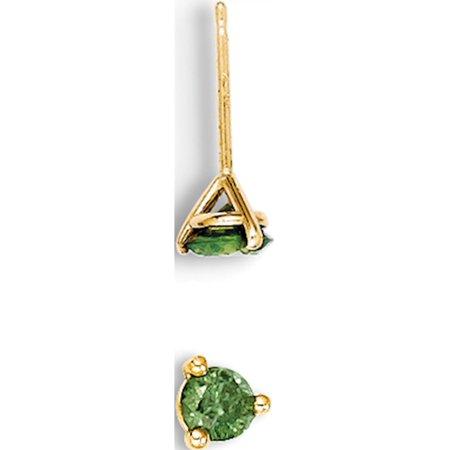 14k or jaune .25ct. Boucles d'oreilles Green Diamond Stud (4x4mm) de - image 2 de 2