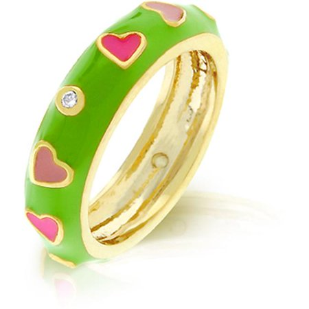 - R07917G-V03-09 18k Gold Plated with Apple Green Enamel Overlay and Pink Enamel Hearts Accented Bezel Set Clear CZ in Goldtone - Size 9