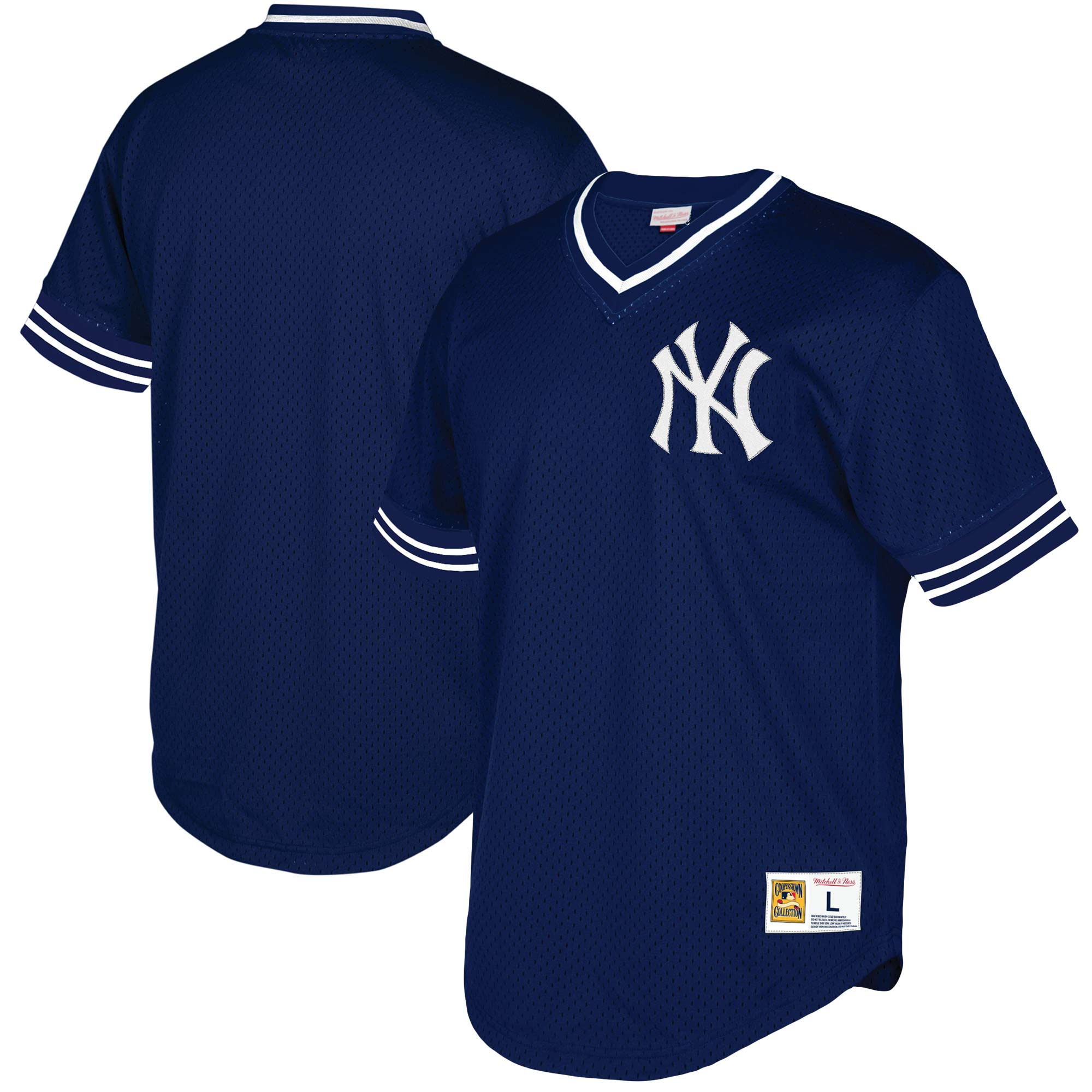 New York Yankees Mitchell & Ness Mesh V-Neck Jersey - Navy