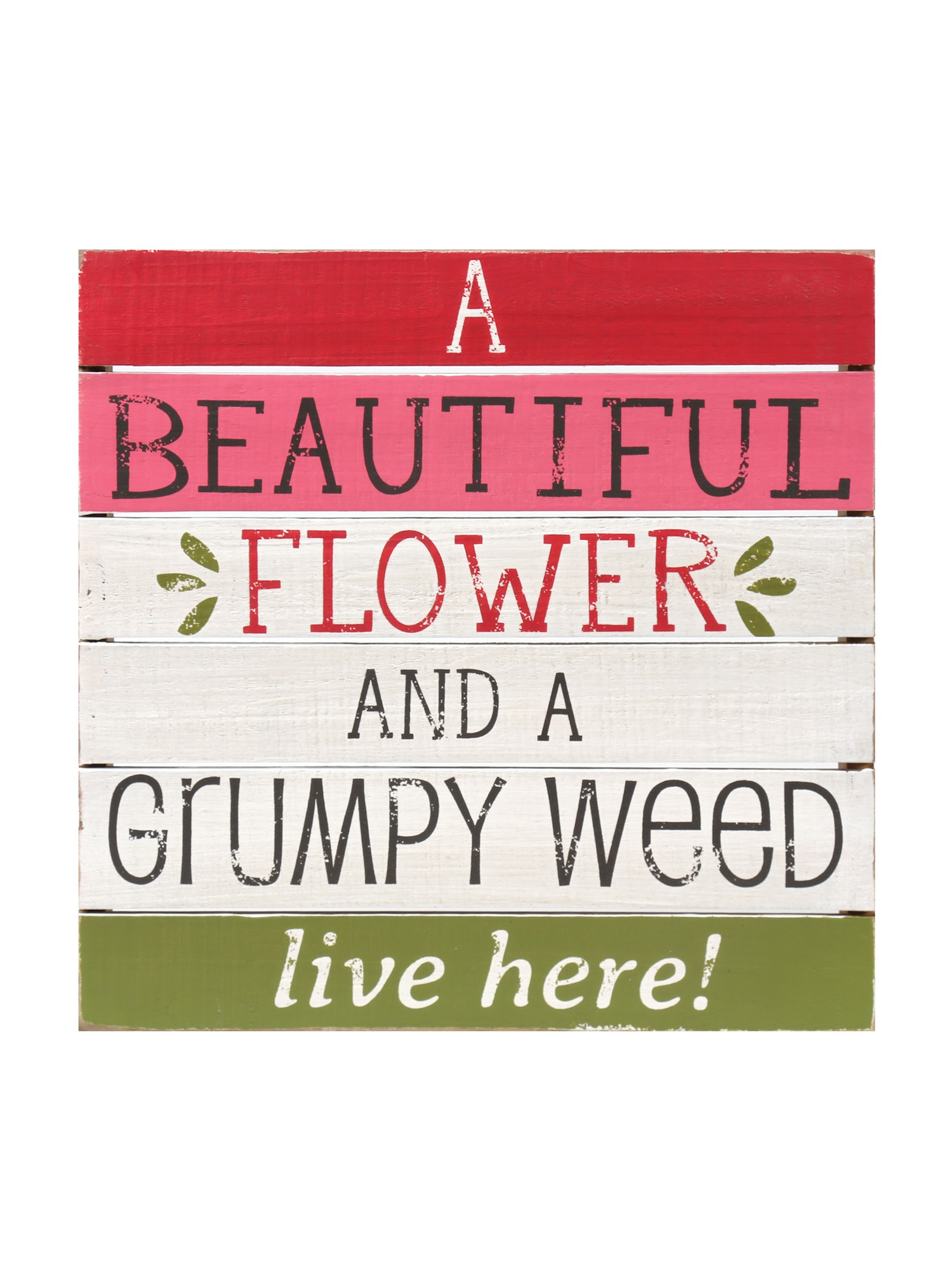 Groovy Floral Hit Me With Your Best Pot Funky Wood Sign Wall Decor