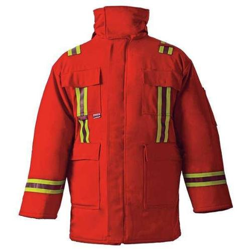 CHICAGO PROTECTIVE APPAREL 600-CC-USR-S Flame-Resistant Parka, Red, S