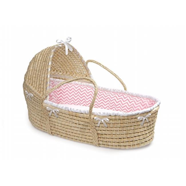 Badger Basket 80887 Natural Hooded Moses Basket with Pink Chevron Bedding by Badger Basket
