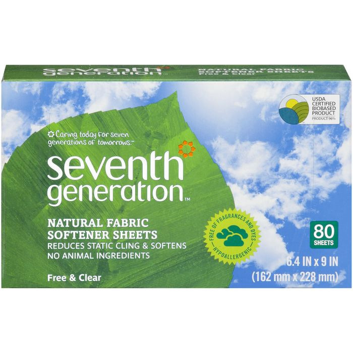 Seventh Generation - Natural Fabric Softener Sheets - Free and Clear - 80 count