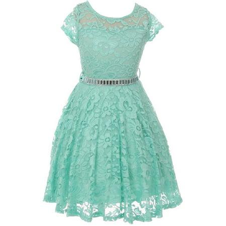 Cap Sleeve Flower Girl Dress (Little Girl Cap Sleeve Lace Skater Stone Belt Flower Girls Dresses (19JK88S) Mint)