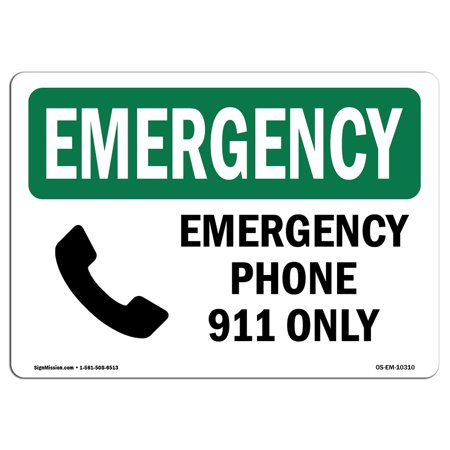 OSHA EMERGENCY Sign - Phone 911 Only  | Choose from: Aluminum, Rigid Plastic or Vinyl Label Decal | Protect Your Business, Construction Site, Warehouse & Shop Area |  Made in the USA