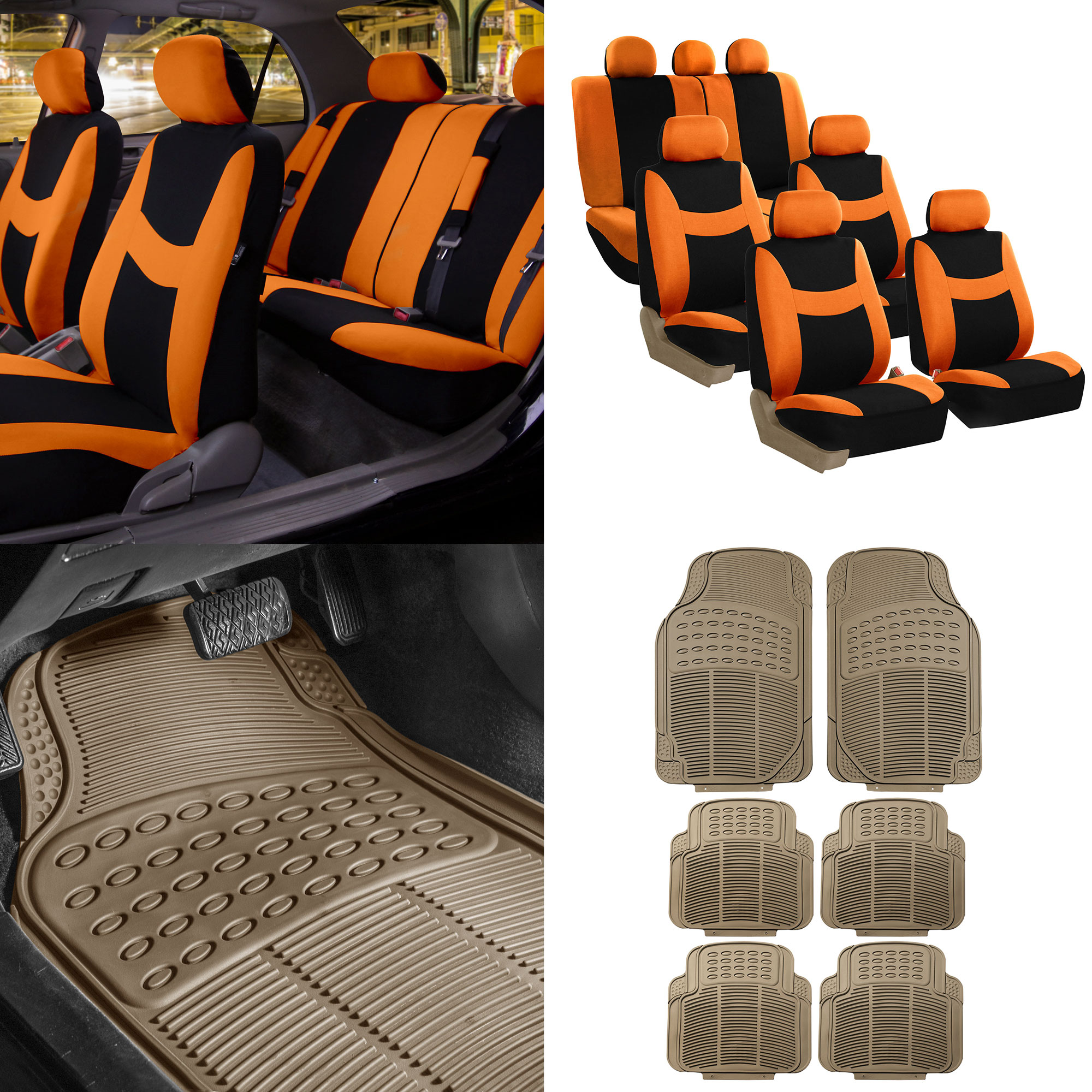 FH Group, 7 Seaters 3 Row Orange Seat Covers for SUV Van Combo with Beige Floor Mats